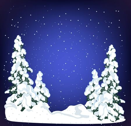 Snow xmas tree on holiday night background. Winter evergreen christmas tree pine. Realistic fir tree in the snow, winter forest. Christmas trees background. New Year background for design of postcard or banner - Vector illustration