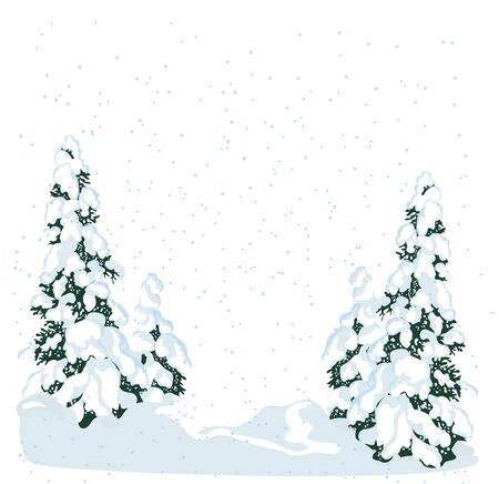 Realistic fir tree in the snow, winter forest. Christmas trees background. New Year background for design of postcard or banner - Vector illustration Zdjęcie Seryjne - 134923783