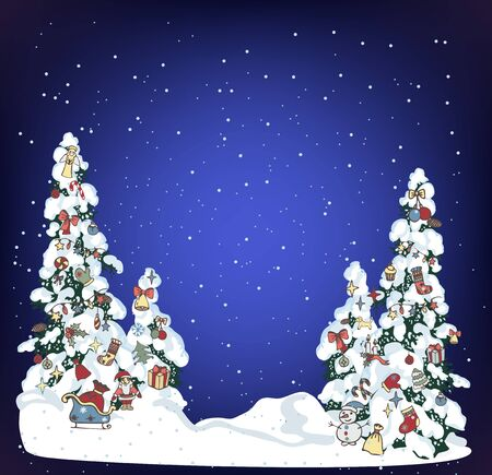 Snow xmas tree on holiday night background. Winter evergreen christmas tree pine with decorated with spruce toys in winter forest. Christmas trees background. New Year background for design of postcard or banner - Vector illustration