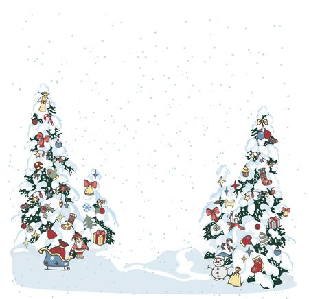 Snow xmas tree. Winter evergreen christmas tree pine with decorated with spruce toys in winter forest. Christmas trees background. New Year background for design of postcard or banner - Vector illustration Ilustracja