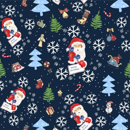 Seamless pattern with the face of Santa Claus and Christmas trees, snow and vintage Christmas tree toys - Vector illustration Zdjęcie Seryjne - 134923767