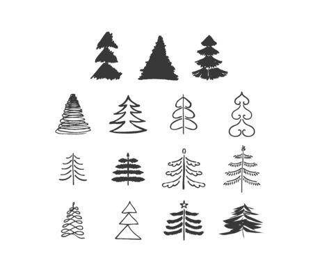 Set of Hand drawn Sketch doodle vector Christmas tree. Different shapes of Christmas trees. Art brush Zdjęcie Seryjne - 134923763