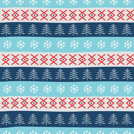 Seamless Christmas patterns. Vector design in nordic style.