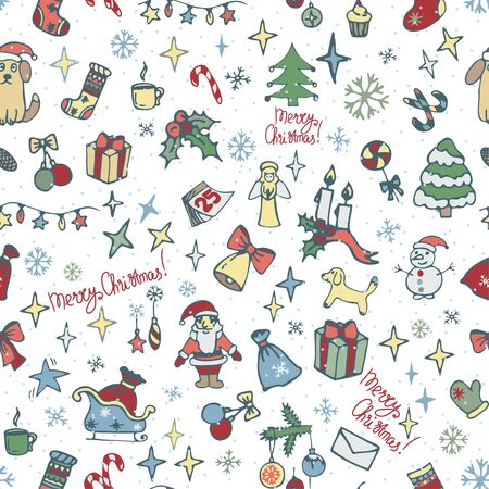 Seamless pattern with Christmas tree decorations. Vintage Christmas tree toys, snowflakes and stars. Gift wrapping for Christmas and New year.