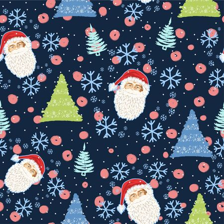 Seamless pattern with the face of Santa Claus and Christmas trees and snow - Vector illustration Zdjęcie Seryjne - 134923771