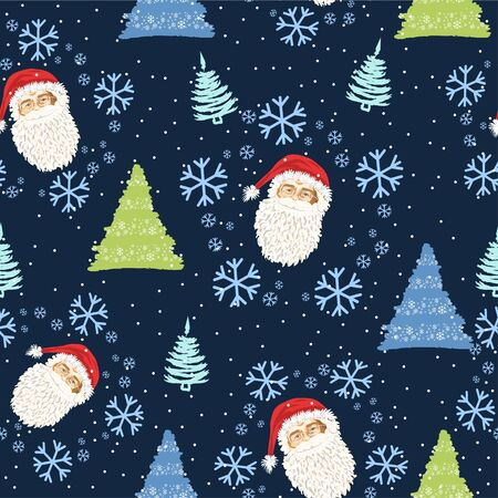 Seamless pattern with the face of Santa Claus and Christmas trees and snow - Vector illustration