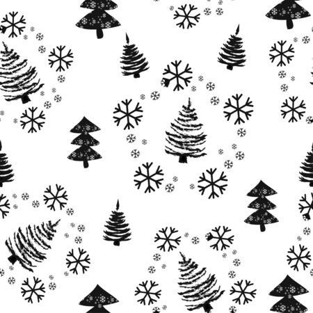 Seamless pattern with Christmas trees and snow. Xmas tree hand drawn, template for new year greeting card or packaging decoration holiday - Vector illustration Zdjęcie Seryjne - 134923777