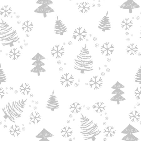 Seamless pattern with Christmas trees and snow. Xmas tree hand drawn, template for new year greeting card or packaging decoration holiday - Vector illustration Ilustracja
