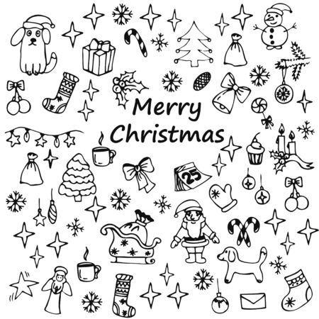 Hand drawn doodle Christmas tree decorations. Vintage Christmas tree toys, snowflakes and stars. Retro doodle elements for design - Vector illustration Ilustracja
