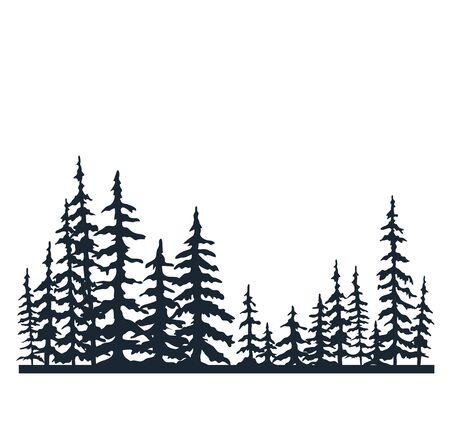 Forest of Christmas fir trees silhouette. Landscape Background. Christmas banner. Coniferous spruce panorama. Park of evergreen wood. Vector on white background. Flat Vector illustration