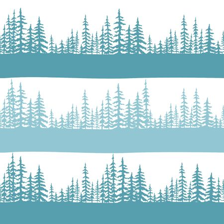 Seamless pattern with forest of Christmas fir trees silhouette. Coniferous spruce panorama. Park of evergreen wood. Vector on white background. Flat Vector illustration