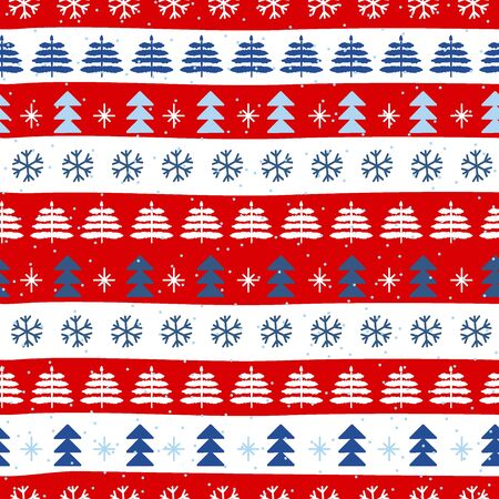 Seamless Christmas patterns in national color flag Denmark style. Hand drawn doodle seamless pattern. Festive Christmas packaging. Vector design in nordic style. Ilustracja