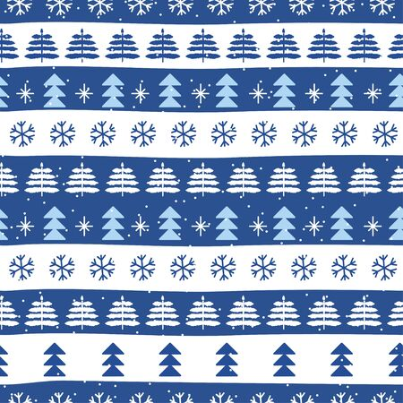 Seamless Christmas patterns in style national color flag Finland. Hand drawn doodle seamless pattern. Festive Christmas packaging. Vector design in nordic style