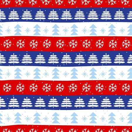 Seamless Christmas patterns in national color flag Norway style. Hand drawn doodle seamless pattern. Festive Christmas packaging. Vector design in nordic style