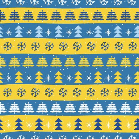 Seamless Christmas patterns in national color flag Sweden style. Hand drawn doodle seamless pattern. Festive Christmas packaging. Vector design in nordic style Zdjęcie Seryjne - 134923749