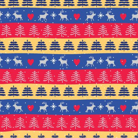 Seamless Christmas patterns. Festive Christmas packaging. Vector design in nordic style. Hand drawn doodle seamless pattern. Zdjęcie Seryjne - 134923747