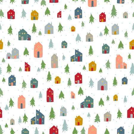 Silhouettes seamless pattern with cute cabins. Vector illustration Ilustracja