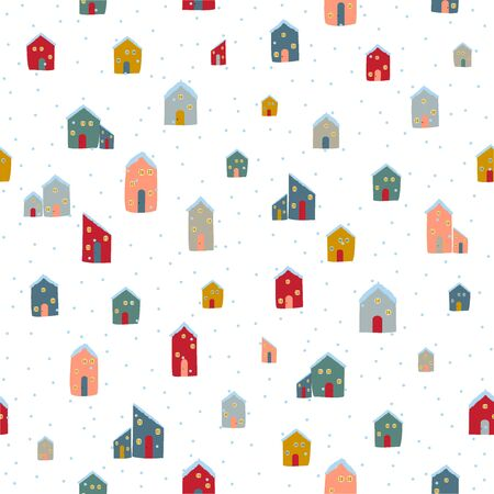 Silhouettes seamless pattern with cute cabins. Hand draw house. Vector illustration