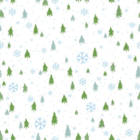 Silhouettes seamless pattern with cute forest. Pine trees, Christmas trees, fir. Vector illustration Ilustracja