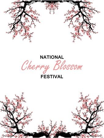 Cherry blossom event template with hand drawn branch with pink cherry flowers blooming. Sakura blooming festival banner. Chinese or Japanese traditional drawing - Vector illustration Zdjęcie Seryjne - 134923781