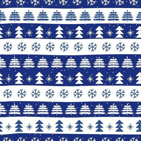 Seamless Christmas patterns in national color flag Greece style. Vector design in nordic style. Festive Christmas packaging. Hand drawn doodle seamless pattern.