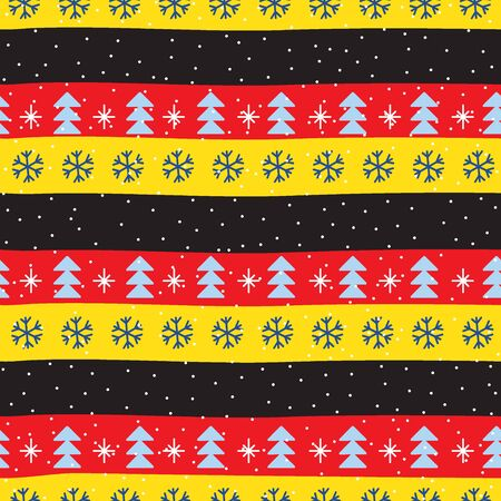 Seamless Christmas patterns in national color flag Germany style. Vector design in nordic style. Festive Christmas packaging. Hand drawn doodle seamless pattern. Zdjęcie Seryjne - 134982321