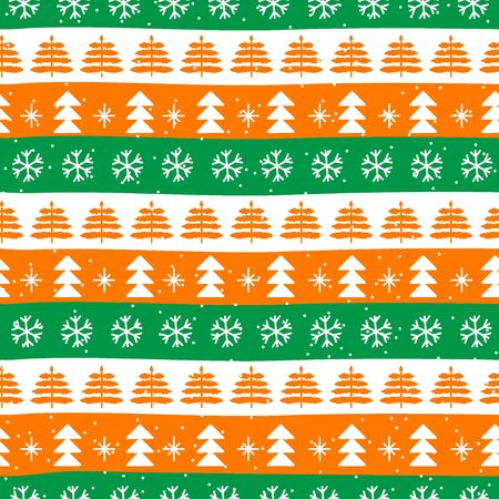 Seamless Christmas patterns in national color flag Ireland style. Vector design in nordic style. Hand drawn doodle seamless pattern. Festive Christmas packaging. Ilustracja