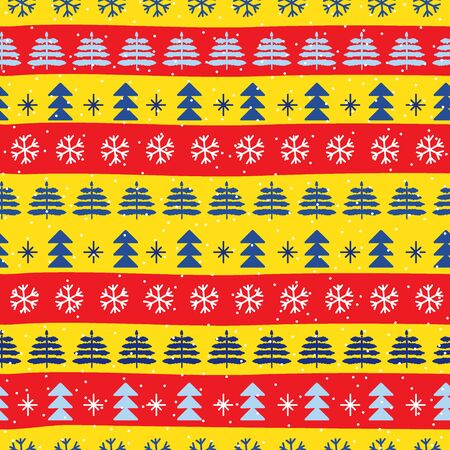 Seamless Christmas patterns in national color flag Spain style. Vector design in nordic style. Hand drawn doodle seamless pattern. Festive Christmas packaging. Zdjęcie Seryjne - 134998940
