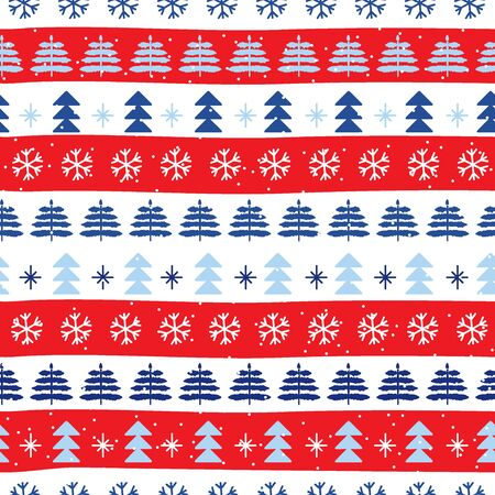 Seamless Christmas patterns in national color flag Austria style. Vector design in nordic style. Festive Christmas packaging. Hand drawn doodle seamless pattern.