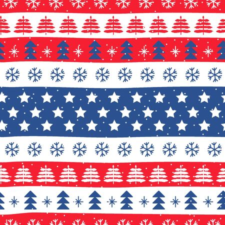 Seamless Christmas patterns in national color flag United States of America style. Vector design in nordic style. Hand drawn doodle seamless pattern. Festive Christmas packaging.