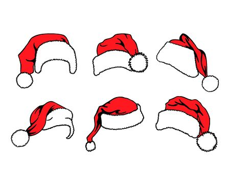 Set of red Santa Claus hats isolated on white background. Vector illustration
