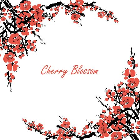 Cherry blossom event template with hand drawn branch with pink cherry flowers blooming. Sakura blossoming festival banner. Chinese or Japanese traditional drawing - Vector illustration
