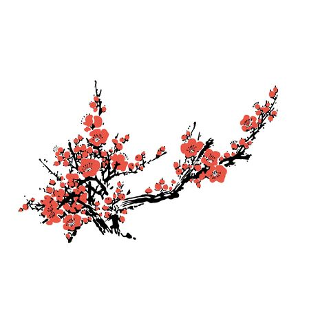 Cherry blossom event template with hand drawn branch with pink cherry flowers blooming. Sakura blossoming. Chinese or Japanese traditional drawing - Vector illustration