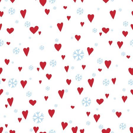 Silhouettes seamless pattern with cute hearts and snowflakes. Happy Valentines day - Vector illustration Ilustracja