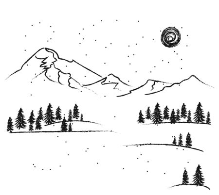 Drawing with coal is a winter forest and mountains on a sunny day for winter cards design. Forest in snowy weather frames - Vector illustration