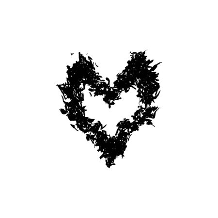 Grunge stencil frame gothic heart. Blot painted frame heart, ink splatter texture and stencils border. Isolated illustration - Vector illustration