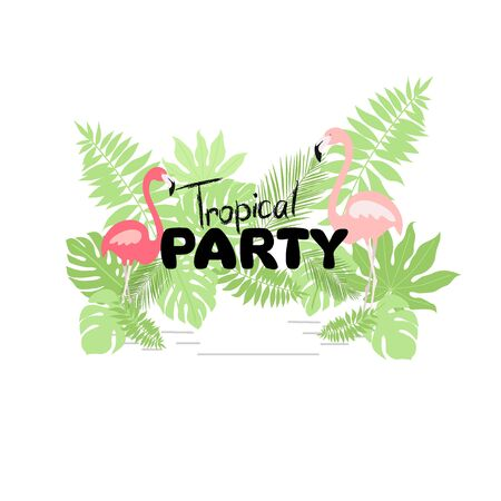 Tropical Hawaiian party invitation with flamingos and palm leaves. Template design. Vector illustration. Ilustracja