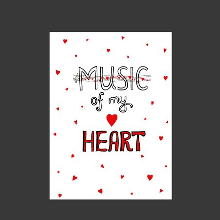 Hand drawn love holidays card. Lettering music of my hearts, my love, love you. Doodle with abstract profile of a woman and a man with hearts. Hand drawing one line - Vector Ilustracja