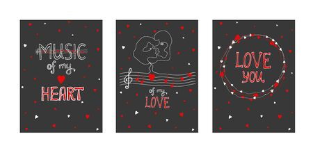 Hand drawn love holidays cards. Lettering music of my hearts, my love, love you. Doodle with abstract profile of a woman and a man with hearts. Hand drawing one line. Hand drawn love holidays cards. Isolated vector icons set Ilustracja