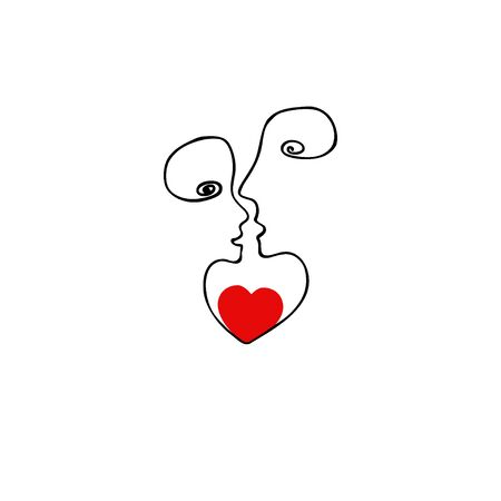 People concept, in love hand drawn icon. Vector sign from one line, metaphor of in love. Vector illustration