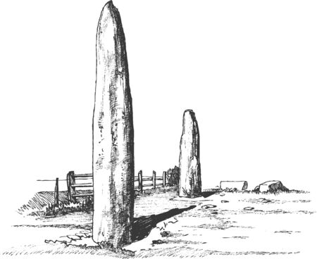 Menhirs, vertical stones of unknown origin, vector illustration. Graphic drawing. Stone Age. Megaliths Illusztráció