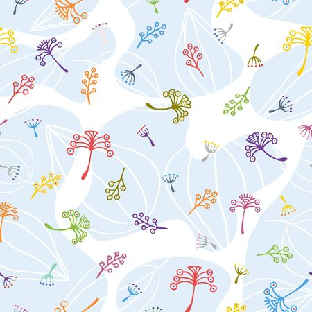 Hand drawn seamless pattern. Simple pattern with flowers, seeds and leaves. Vector images
