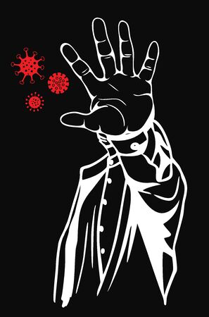 Vector illustration of the stop virus concept. Prohibition sign with your hand. Vector Çizim