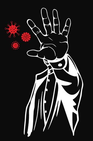 Stop virus concept. Prohibition sign with your hand. Vector illustration Çizim