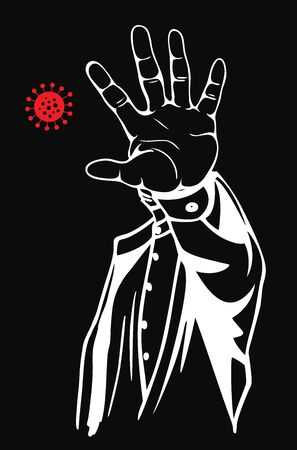 Stop virus concept. Prohibition sign with your hand. Vector illustration