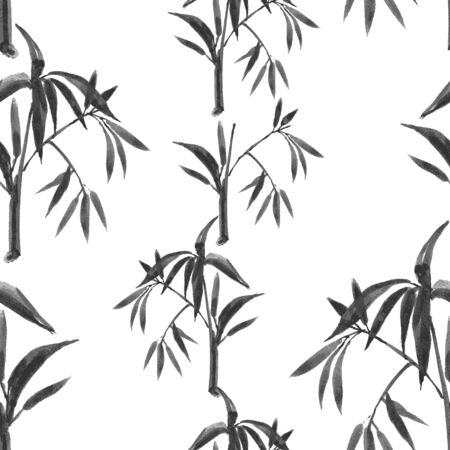 Hand-drawn watercolor seamless pattern with bamboo plant drawing. Repeated background with bamboo. Vector illustration