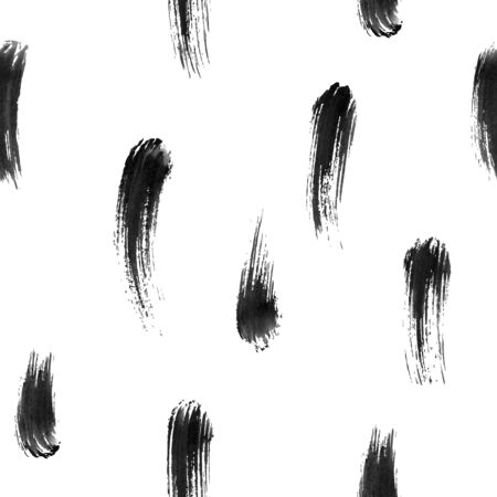 Hand-drawn watercolor brushstrokes with brushstroke. Vector black seamless pattern. Traced watercolor paint stroke. Ilustração Vetorial