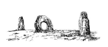 Menhirs, vertical stones of unknown origin, vector illustration. Graphic drawing. Megaliths Stone Age.