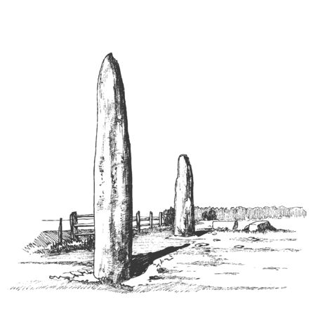 Menhirs, vertical stones of unknown origin, vector illustration. Graphic drawing. Megaliths. Stone Age