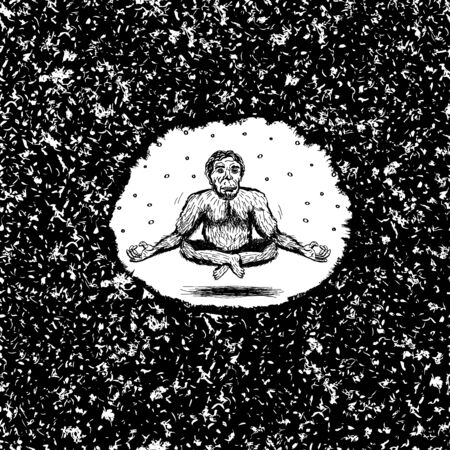 Ape man in the Lotus position levitates in a round frame with a grainy background. Meditation. Gorilla yoga. Neanderthal stone age. Vector Vettoriali